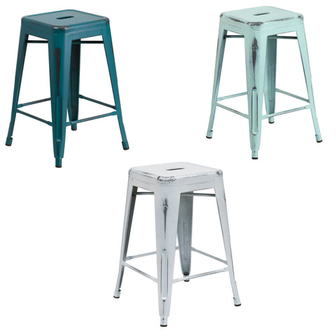 Flash Furniture 24'' High Backless Distressed Green-Blue, Kelly Blue-Teal and White Metal Indoor-Outdoor Counter Height Stool.