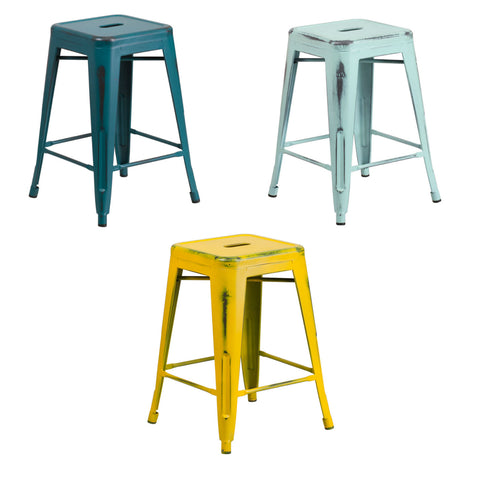 Flash Furniture 24'' High Backless Distressed Kelly Blue-Teal, Green-Blue and Yellow Metal Indoor-Outdoor Counter Height Stool
