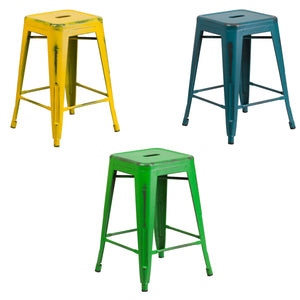 Flash Furniture 24'' High Backless Distressed Yellow, Kelly Blue-Teal and Green Metal Indoor-Outdoor Counter Height Stool