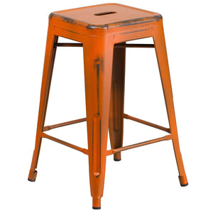 Flash Furniture 24'' High Backless Distressed Green, Yellow and Orange Metal Indoor-Outdoor Counter Height Stool