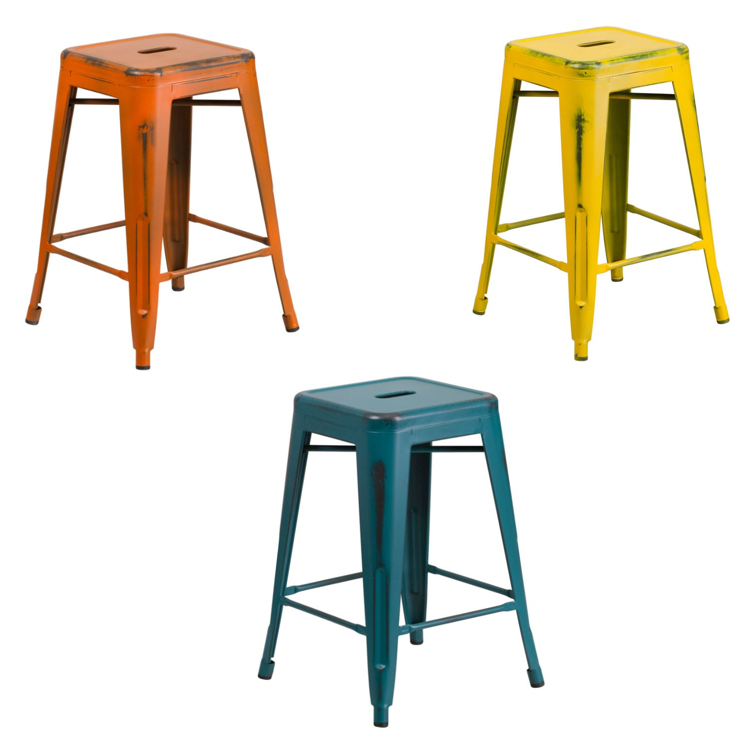 Flash Furniture 24'' High Backless Distressed Orange, Yellow and Kelly Blue-Teal Metal Indoor-Outdoor Counter Height Stool