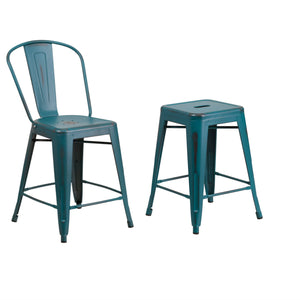 Flash Furniture 24'' High Distressed Kelly Blue-Teal Metal Indoor-Outdoor Counter Height Stool with Back and Counter Height Stool