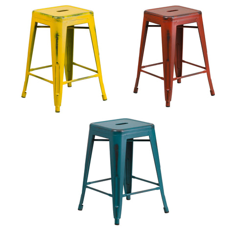 Flash Furniture 24'' High Backless Distressed Kelly Red, Yellow and Kelly Blue-Teal Metal Indoor-Outdoor Counter Height Stool