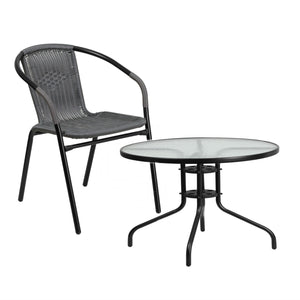 Flash Furniture Gray Rattan Indoor-Outdoor Restaurant Stack Chair and 31.5'' Round Tempered Glass Metal Table