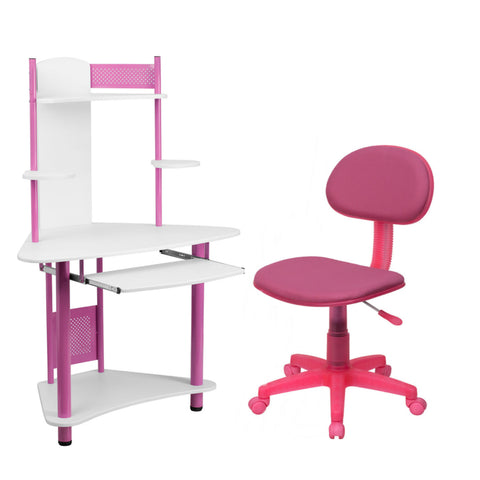 Flash Furniture Pink Fabric Swivel Task Chair and Pink Corner Computer Desk with Hutch