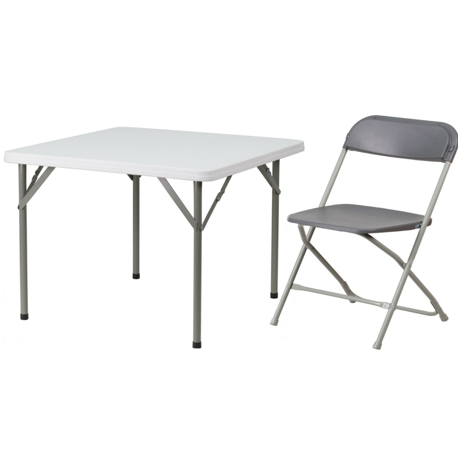 Flash Furniture Hercules Series 800-Pound Premium Plastic Folding Chair, Grey with 34'' Square Granite White Plastic Folding Table