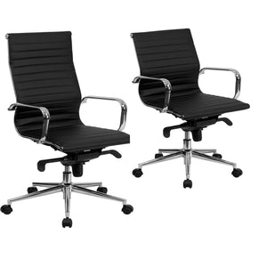 Flash Furniture High/Mid Back Black Ribbed Leather Executive Swivel Chair with Knee-Tilt Control and Arms