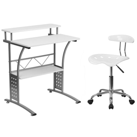 Flash Furniture Vibrant White Chrome Swivel Task Chair Tractor Seat and Clifton White Computer Desk