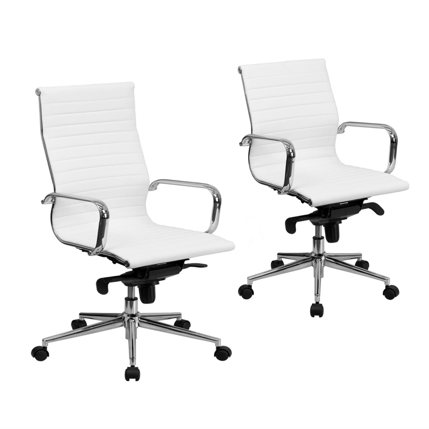 Flash Furniture High/Mid Back White Ribbed Leather Executive Swivel Chair with Knee-Tilt Control and Arms