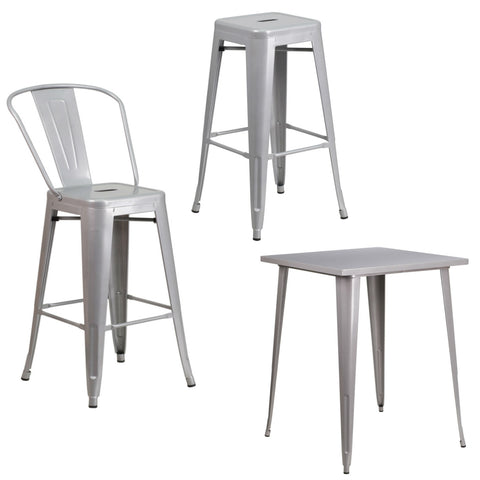 Flash Furniture Silver Metal Indoor-Outdoor 30'' High Barstool with Back, Backless Barstool with Square Seat and 31.5'' Square Bar Height Table