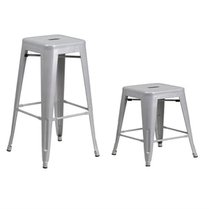 "Flash Furniture 24'' and 30"" High Backless Silver Metal Indoor-Outdoor Counter Height Stool with Square Seat"