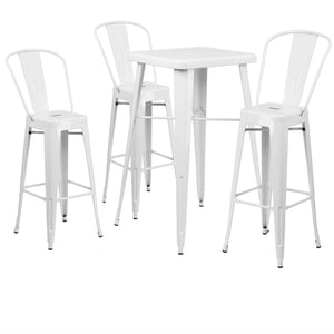 "Flash Furniture 23.75'' Square White Metal Indoor-Outdoor Bar Table Set with 3 30"" Stools with Backs"