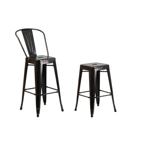 Flash Furniture 30'' High Black-Antique Gold Metal Indoor-Outdoor Barstool with Back and Backless Barstool with Square Seat