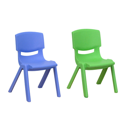 Flash Furniture Blue Plastic Stackable School Chair with 12'' Seat Height and Green Plastic Stackable School Chair with 10.5'' Seat Height