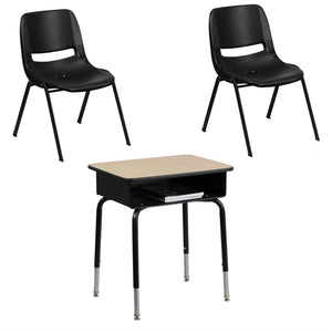 Flash Furniture Hercules Series 661 lb. and 440 lb. Capacity Black Ergonomic Shell Stack Chair & Student Desk with Open Front Metal Book Box