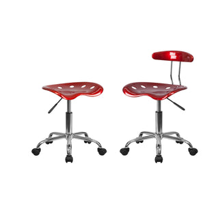 Flash Furniture Vibrant Wine Red Chrome Swivel Task Chair and Vibrant Wine Red Tractor Seat Chrome Stool