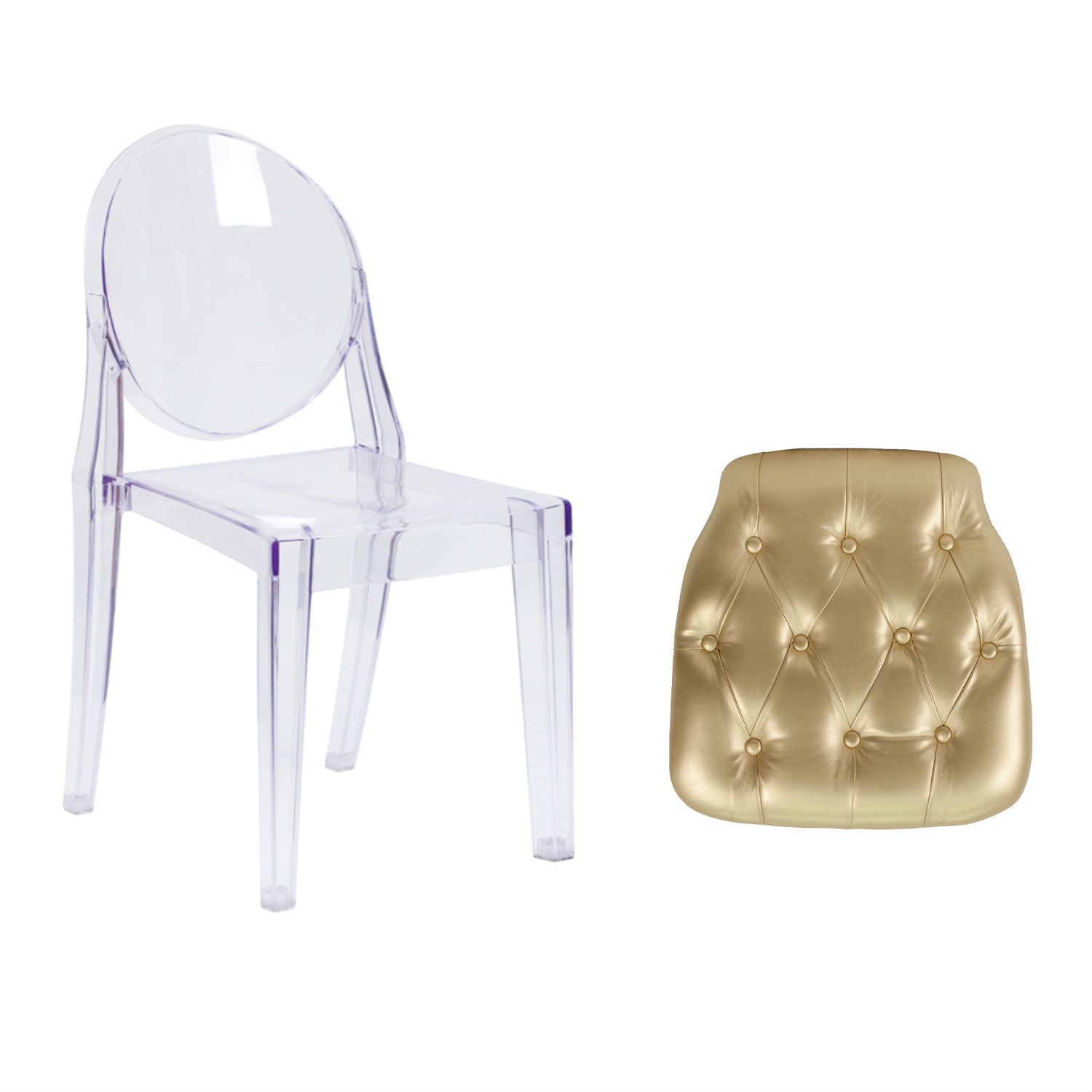 Flash Furniture Ghost Side Chair in Transparent Crystal with Hard Gold Tufted Vinyl Chiavari Chair Cushion