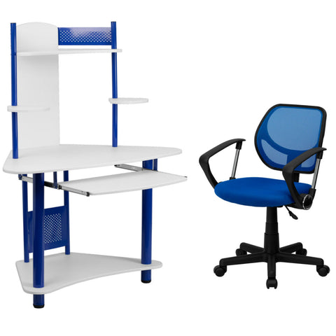 Flash Furniture Mid-Back Blue Mesh Swivel Task Chair with Arms and Blue Corner Computer Desk with Hutch
