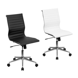 Flash Furniture Mid-Back Armless Black and White Ribbed Leather Swivel Conference Chair