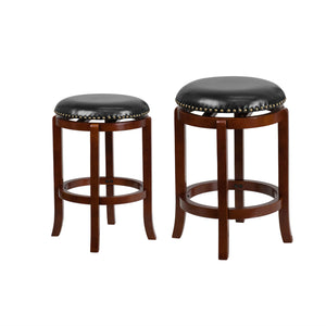 Flash Furniture 24'' High Backless Light Cherry Wood Counter Height Stool and 29'' High Backless Barstool with Black Leather Swivel Seat