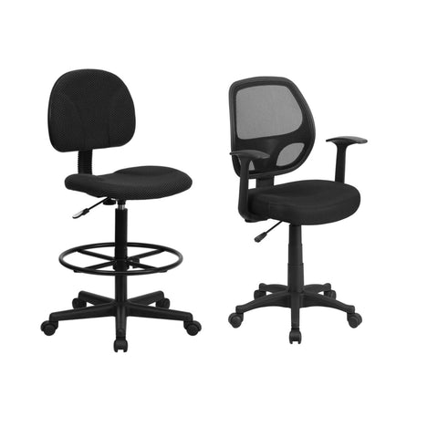 Flash Furniture Black Patterned Fabric Drafting Chair and Mid-Back Black Mesh Swivel Task Chair with Arms