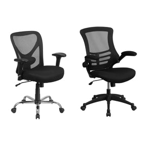 Flash Furniture HERCULES Black Mesh Swivel Task Chair with Height Adjustable Back & Arms and Mid-Back Black Mesh Swivel Task Chair with Flip-Up Arms