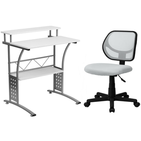 Flash Furniture Mid-Back White Mesh Swivel Task Chair and Clifton White Computer Desk