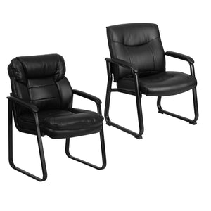 Flash Furniture Black Leather Executive Side Reception Chair and Series Big & Tall Leather Executive Side Chair with Sled Base and Padded Arms