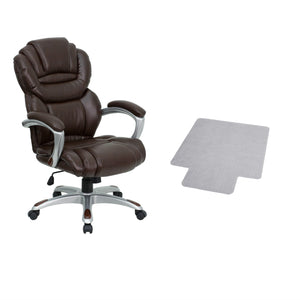 Flash Furniture High Back Brown Leather Executive Swivel Chair with Arms and Carpet Chair Mat with Lip
