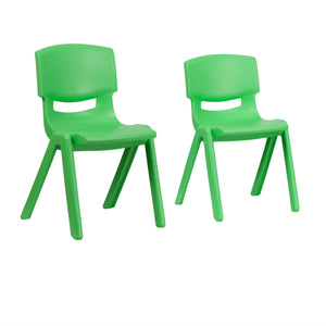 Flash Furniture Green Plastic Stackable School Chair with 13.25'' Seat Height and 15.5'' Seat Height