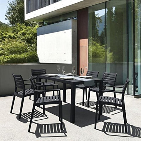 Artemis Resin Square Dining Set with 4 arm chairs Black