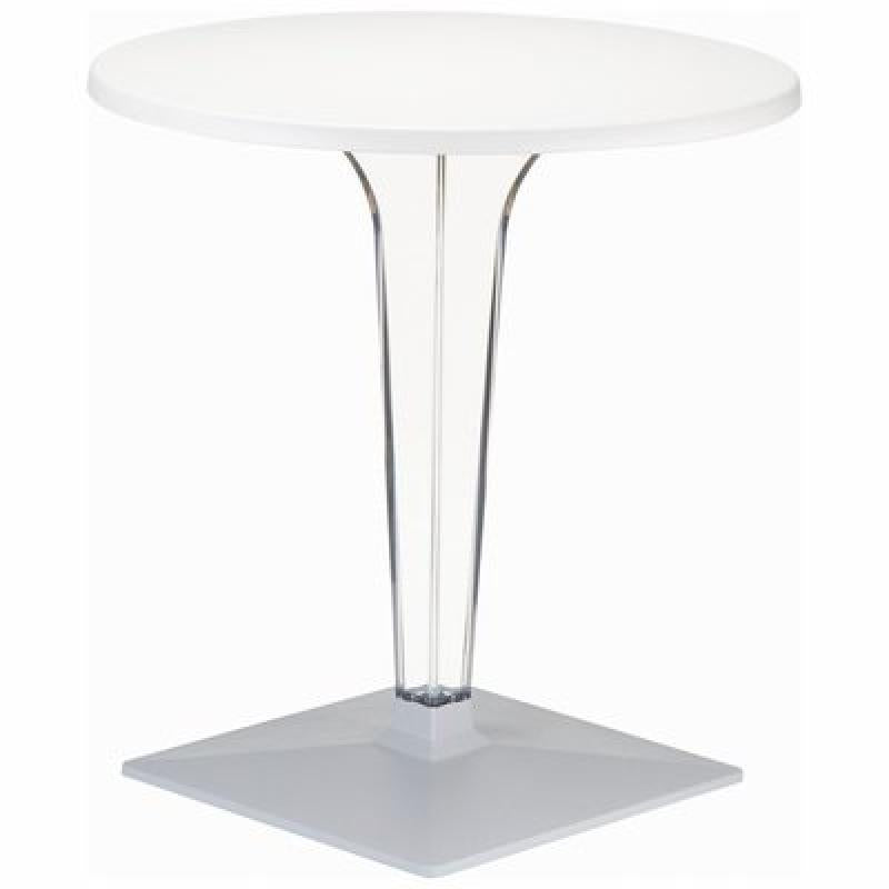 Ice Werzalit Top Round Dining Table with Transparent Base 28 inch White