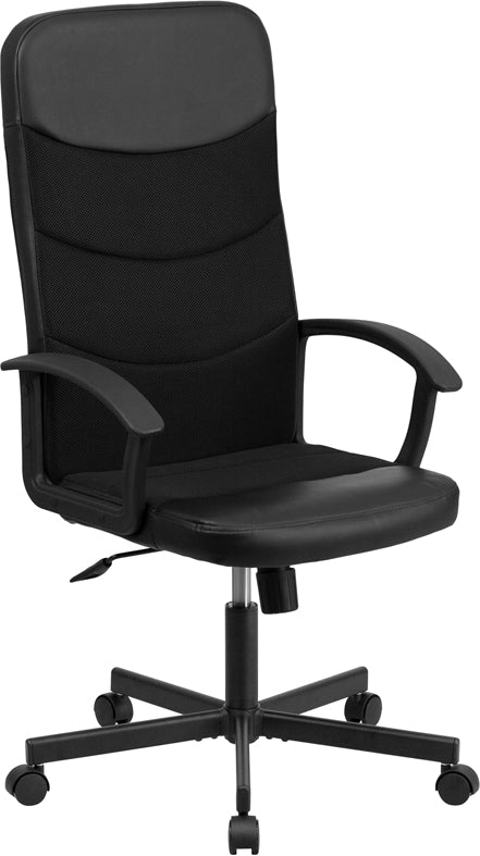 Flash Furniture CP-A301A01-BK-GG High Back Black Vinyl and Black Mesh Racing Executive Swivel Office Chair