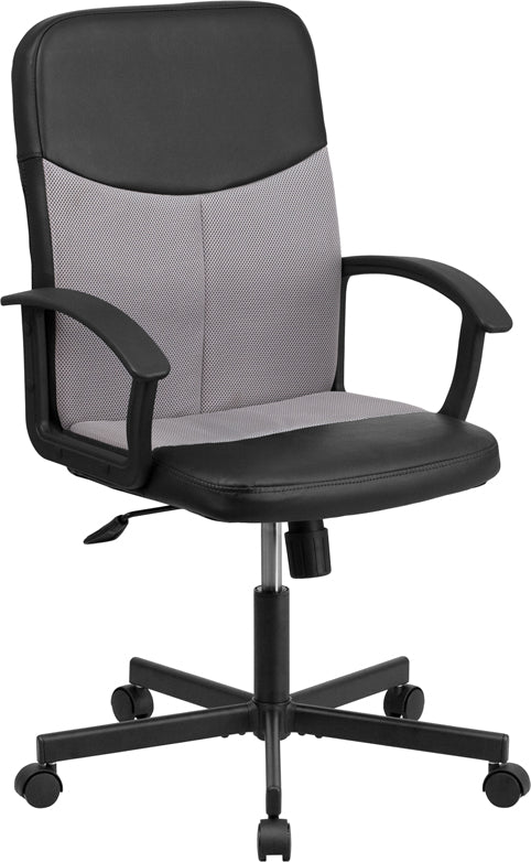 Flash Furniture CP-B301E01-BK-GY-GG Mid-Back Black Vinyl and Light Gray Mesh Racing Executive Swivel Office Chair