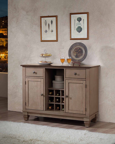 D6498-4 Brown Wood Wine Rack Sideboard Buffet Server Storage Cabinet With Drawers, Shelf & Doors