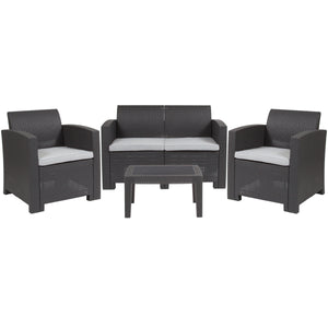 4 Piece Outdoor Faux Rattan Chair, Loveseat and Table Set in Dark Gray
