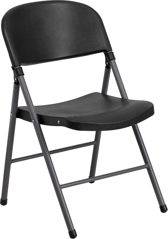 HERCULES Series 330 lb. Capacity Black Plastic Folding Chair with Charcoal Frame - DAD-YCD-50-GG