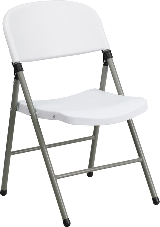 HERCULES Series 330 lb. Capacity White Plastic Folding Chair with Gray Frame - DAD-YCD-70-WH-GG
