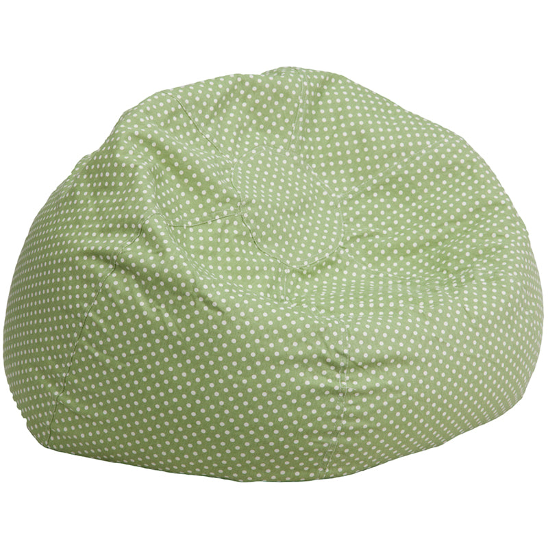 Oversized Green Dot Bean Bag Chair - DG-BEAN-LARGE-DOT-GRN-GG