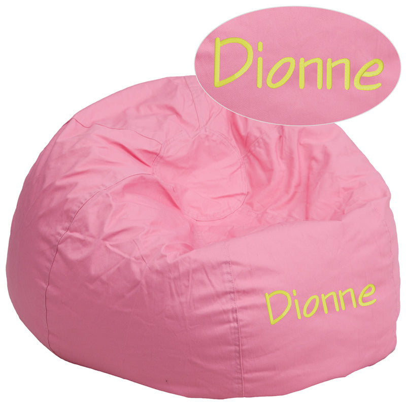 Personalized Oversized Solid Light Pink Bean Bag Chair - DG-BEAN-LARGE-SOLID-PK-TXTEMB-GG