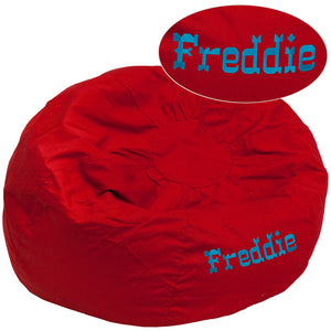 Personalized Oversized Solid Red Bean Bag Chair - DG-BEAN-LARGE-SOLID-RED-TXTEMB-GG
