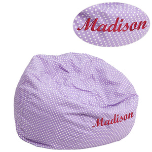 Personalized Small Lavender Dot Kids Bean Bag Chair - DG-BEAN-SMALL-DOT-PUR-TXTEMB-GG