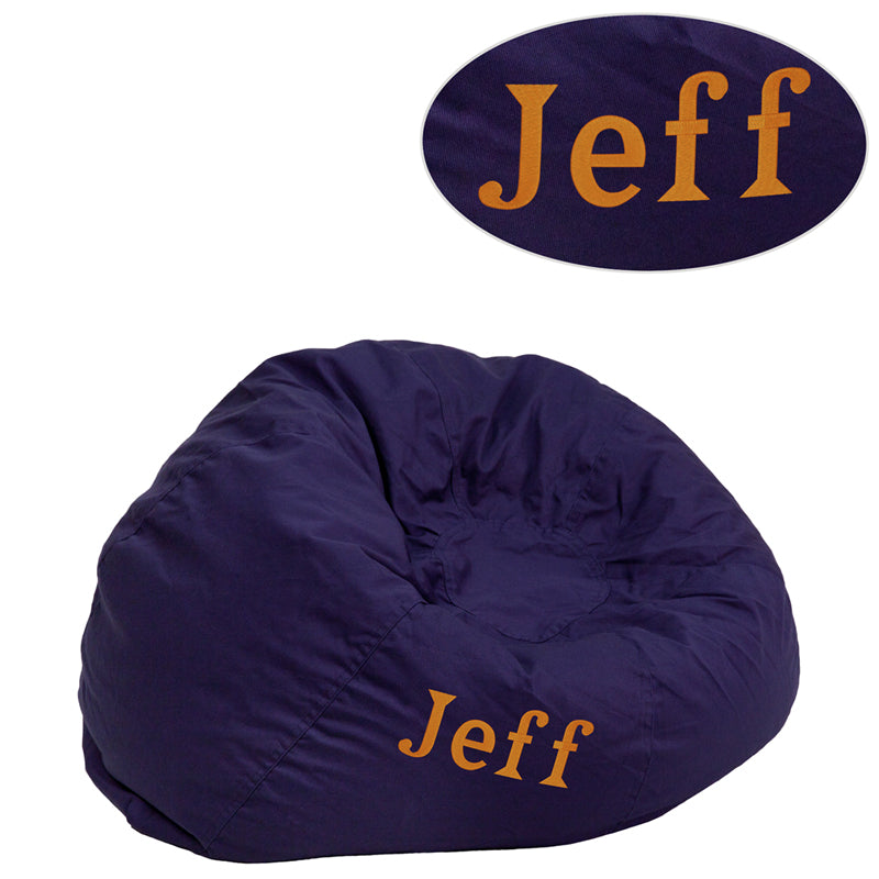 Personalized Small Solid Navy Blue Kids Bean Bag Chair - DG-BEAN-SMALL-SOLID-BL-TXTEMB-GG