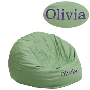 Personalized Small Solid Green Kids Bean Bag Chair - DG-BEAN-SMALL-SOLID-GRN-TXTEMB-GG