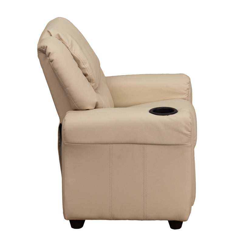 Contemporary Beige Vinyl Kids Recliner with Cup Holder and Headrest - DG-ULT-KID-BGE-GG