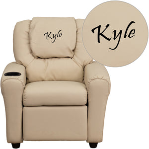 Personalized Beige Vinyl Kids Recliner with Cup Holder and Headrest - DG-ULT-KID-BGE-TXTEMB-GG
