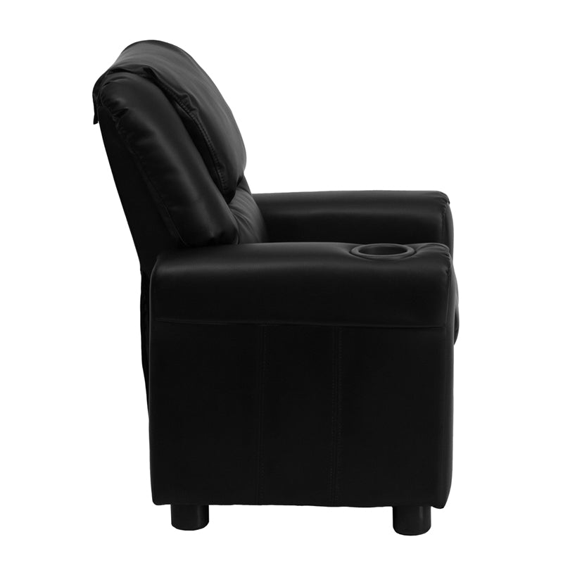 Contemporary Black Leather Kids Recliner with Cup Holder and Headrest - DG-ULT-KID-BK-GG
