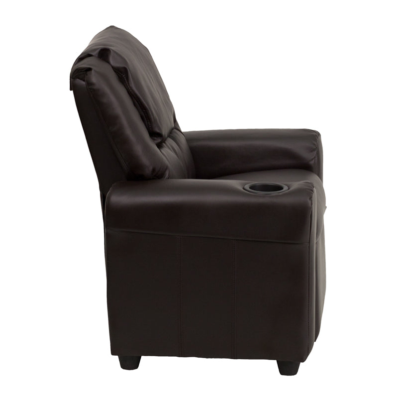 Contemporary Brown Leather Kids Recliner with Cup Holder and Headrest - DG-ULT-KID-BRN-GG