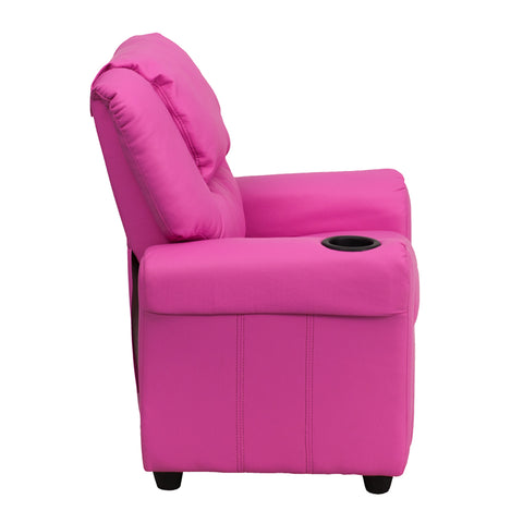 Contemporary Hot Pink Vinyl Kids Recliner with Cup Holder and Headrest - DG-ULT-KID-HOT-PINK-GG
