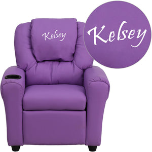 Personalized Lavender Vinyl Kids Recliner with Cup Holder and Headrest - DG-ULT-KID-LAV-TXTEMB-GG